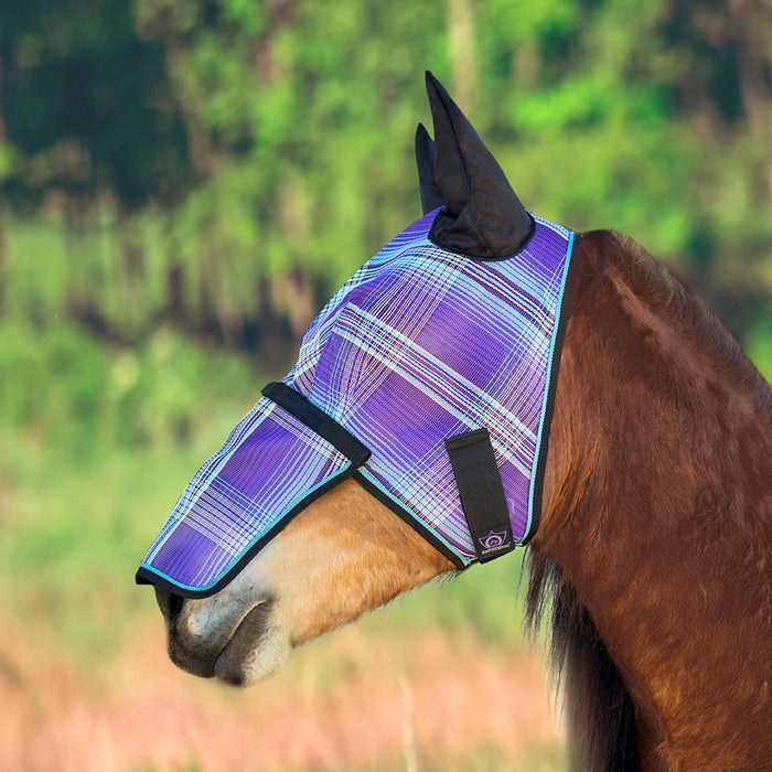 Draft fly mask with web trim, soft mesh ears. Purple