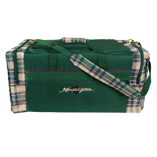 Green with tan textilene plaid duffle gear travel bag