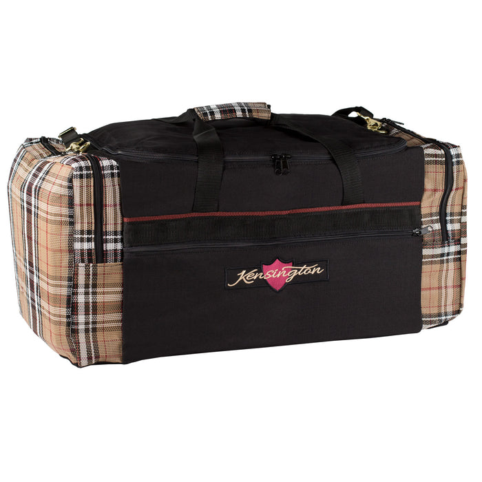 Black with tan textilene plaid duffle gear travel bag