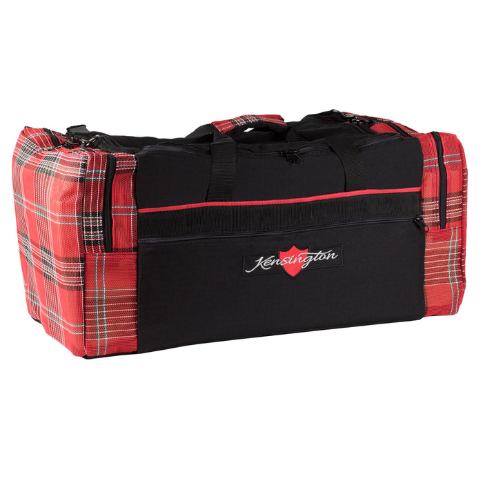 Black with red textilene plaid duffle gear travel bag