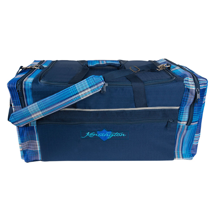 navy with blue textilene plaid duffle gear travel bag