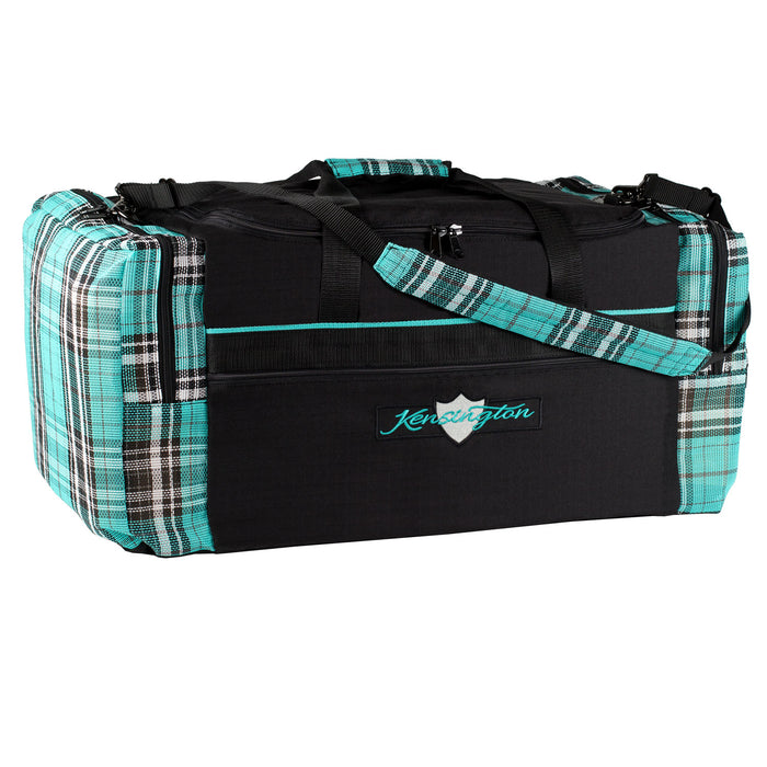 Black with turquoise textilene plaid duffle gear travel bag