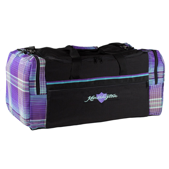 Black with purple textilene plaid duffle gear travel bag