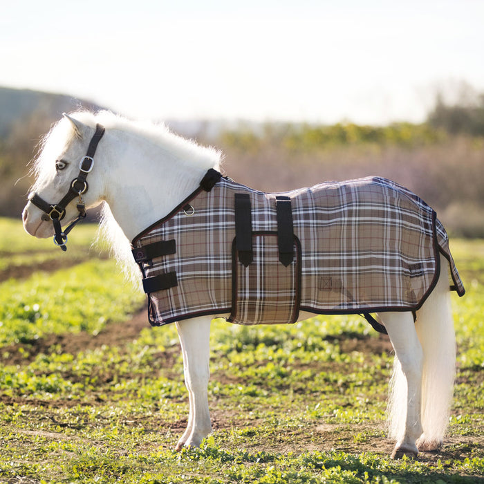 Mini textilene protective fly sheet. UV protection. Miniature horse. Tan brown plaid