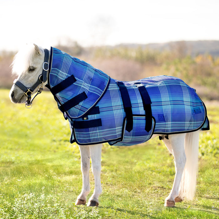 Mini textilene protective fly sheet. UV protection. Miniature horse wearing flysheet and neck cover. Blue plaid