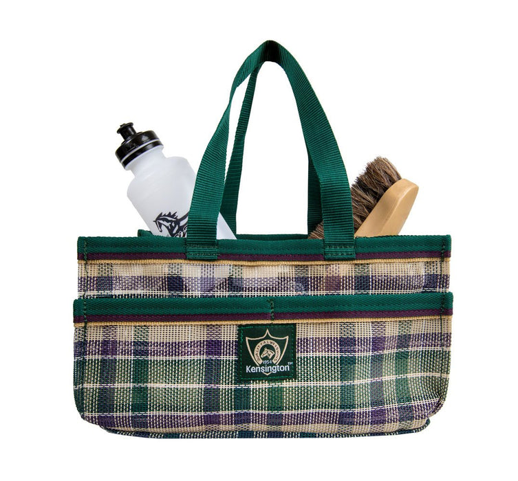 Hunter green plaid Kensington grooming tote bag with pockets for hoof pick, brush, and shampoo.