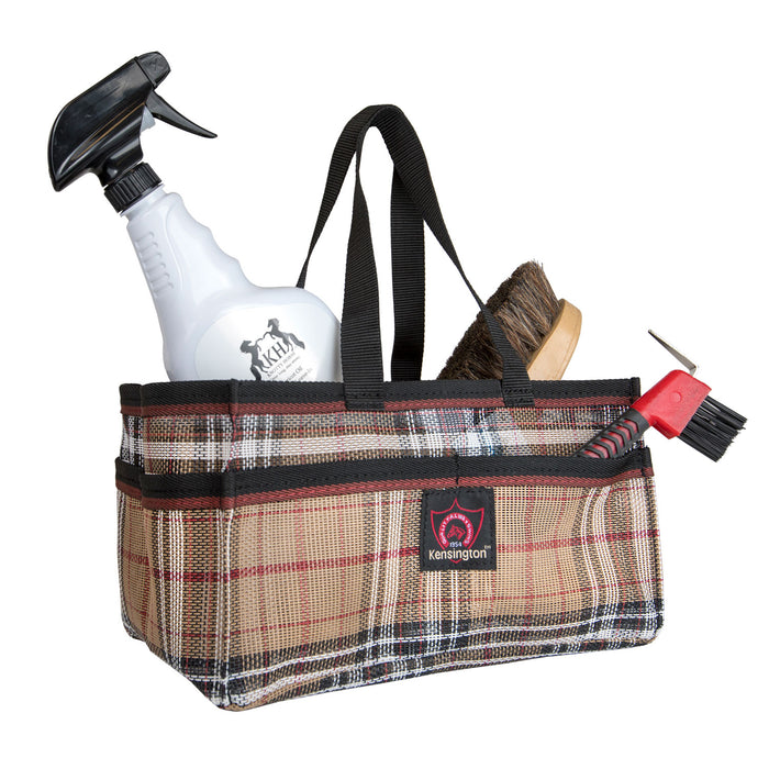 Tan plaid Kensington grooming tote bag with pockets for hoof pick, brush, and shampoo.