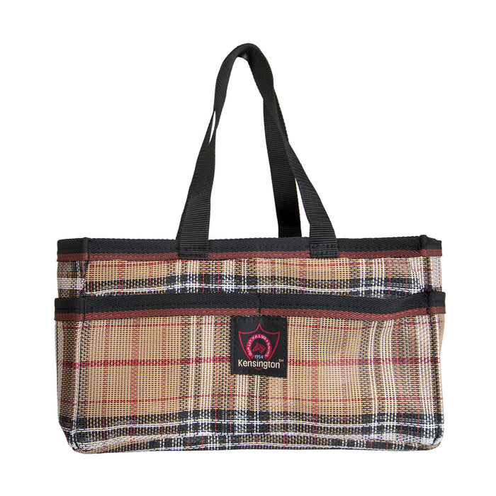 Brown plaid Kensington grooming tote bag with pockets.