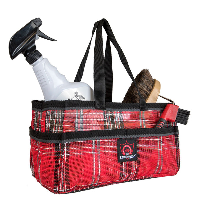 Red plaid Kensington grooming tote bag with pockets for hoof pick, brush, and shampoo.