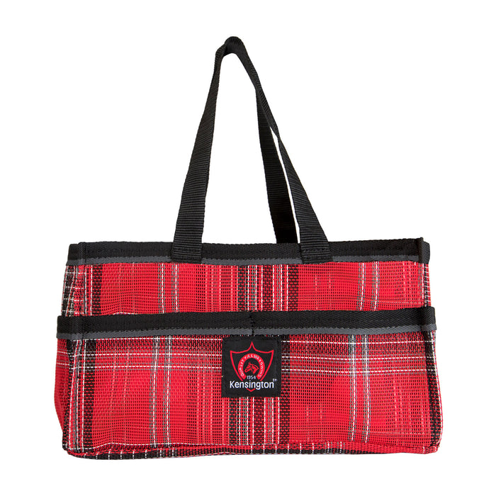 Red plaid Kensington grooming tote bag with pockets.