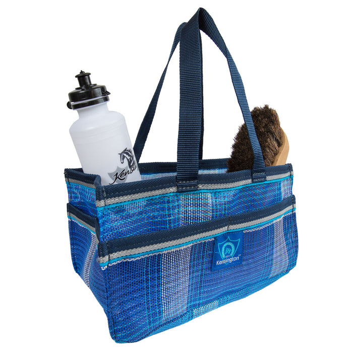 Blue plaid Kensington grooming tote bag with pockets for hoof pick, brush, and shampoo.