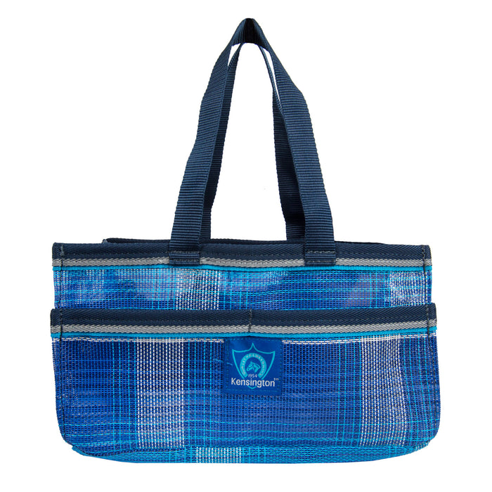 Blue plaid Kensington grooming tote bag with pockets.