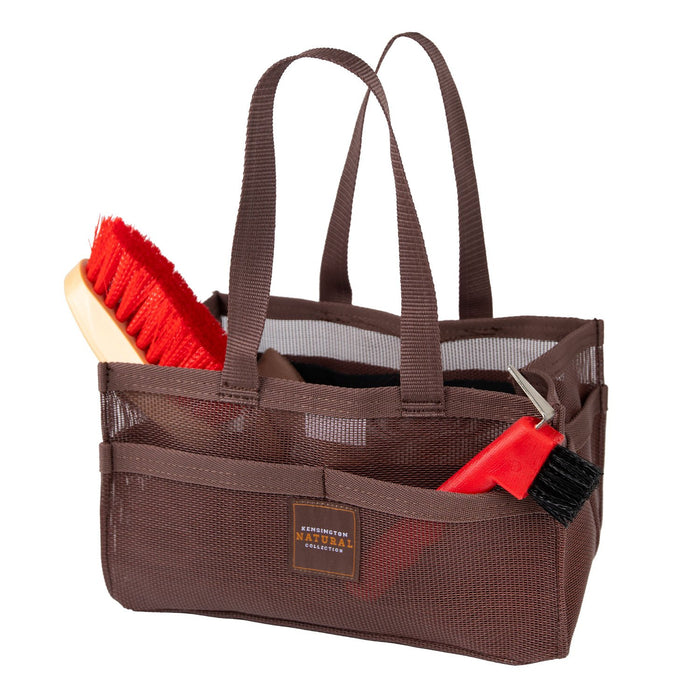Bay color Kensington grooming tote bag with pockets for hoof pick, brush, and shampoo.