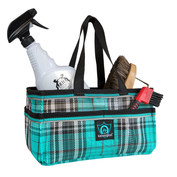 Turquoise plaid Kensington grooming tote bag with pockets for hoof pick, brush, and shampoo.
