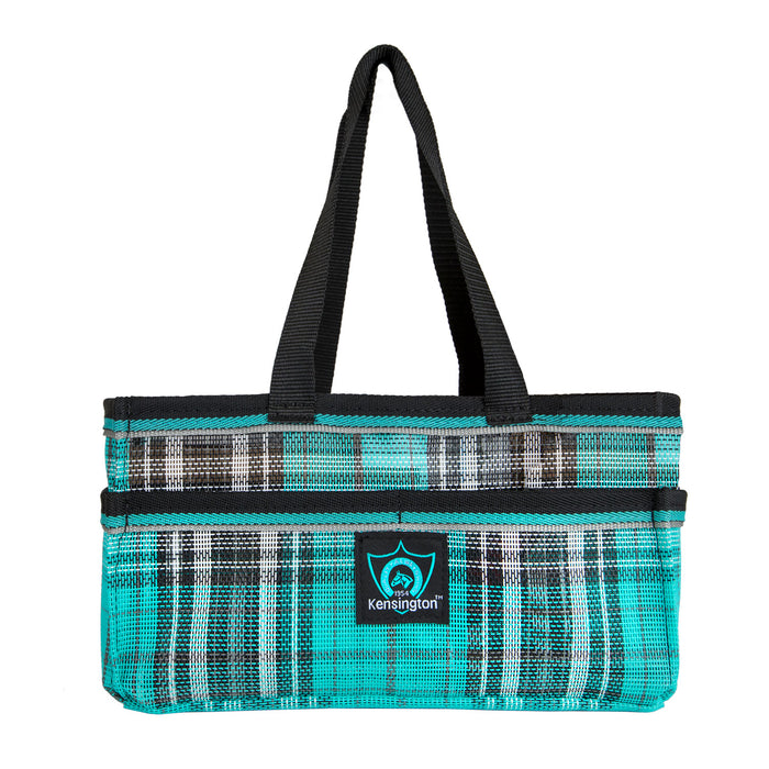 Turquoise plaid Kensington grooming tote bag with pockets.