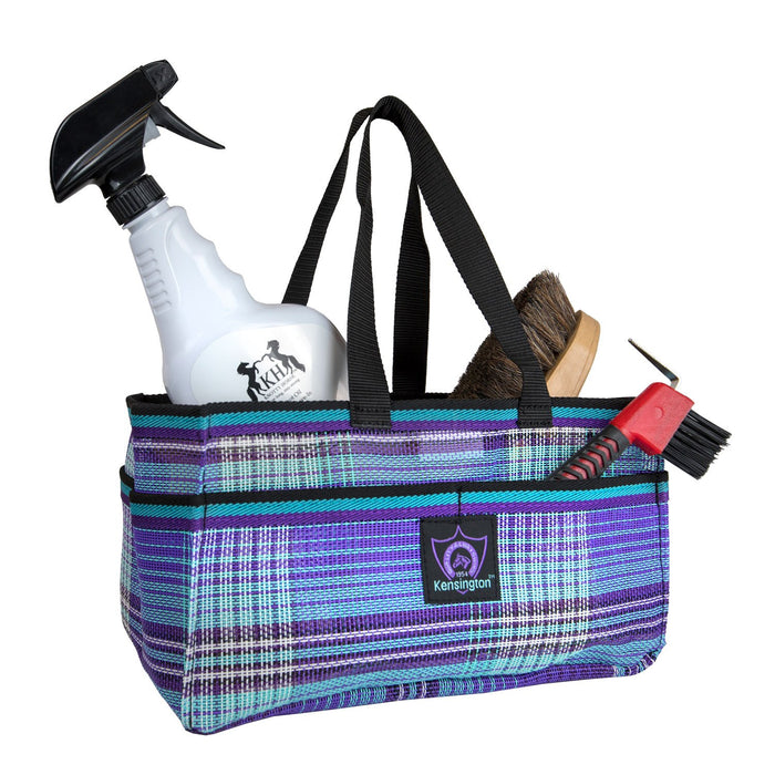 Purple plaid Kensington grooming tote bag with pockets for hoof pick, brush, and shampoo.