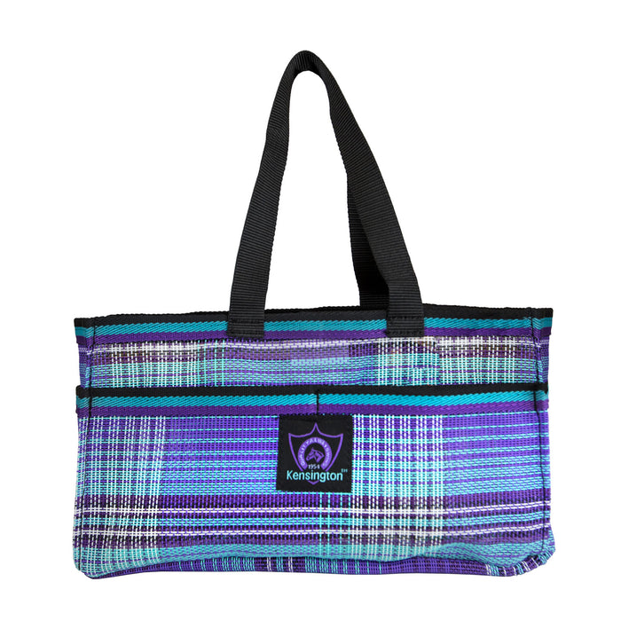 Purple plaid Kensington grooming tote bag with pockets.