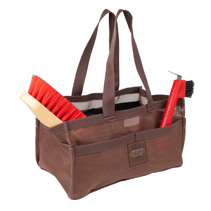 Sorrel color Kensington grooming tote bag with pockets for hoof pick, brush, and shampoo.