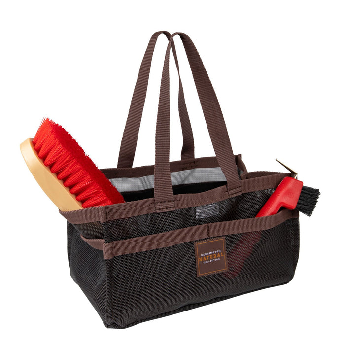 Black with brown trim Kensington grooming tote bag with pockets for hoof pick, brush, and shampoo.