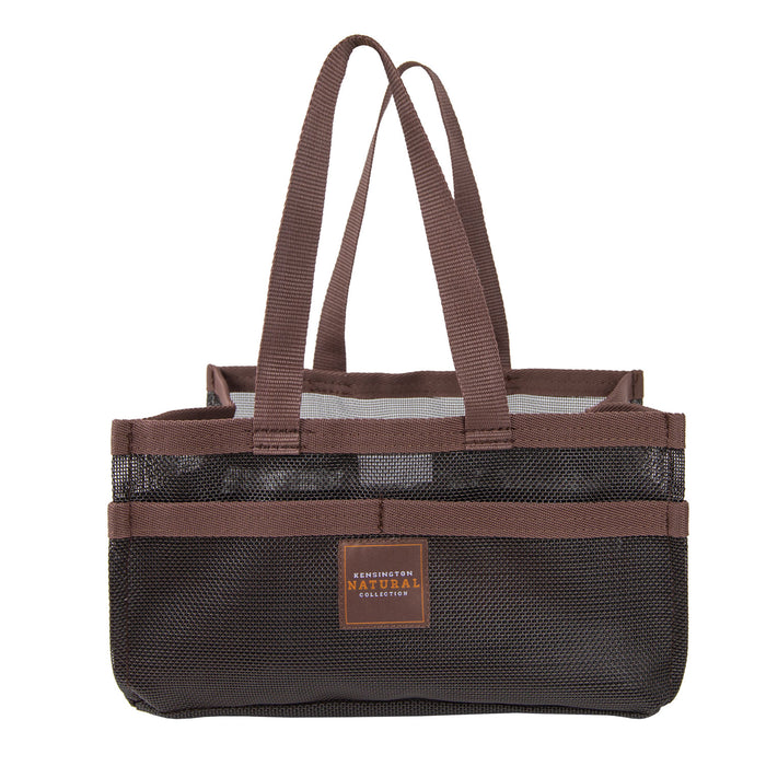 Black with brown trim Kensington grooming tote bag with pockets.