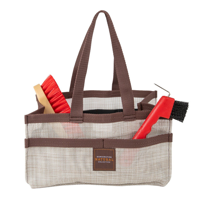 Tan with brown trim Kensington grooming tote bag with pockets for hoof pick, brush, and shampoo.