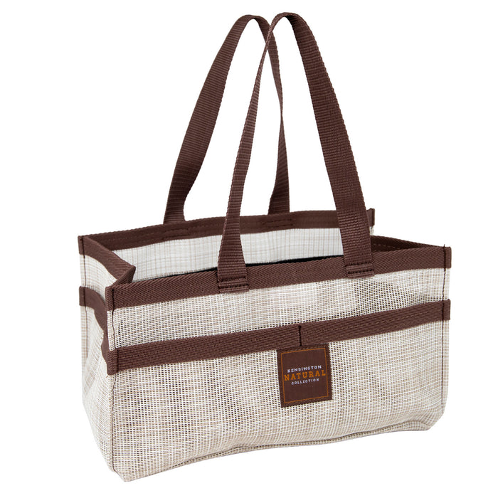 Grey with brown trim Kensington grooming tote bag with pockets.