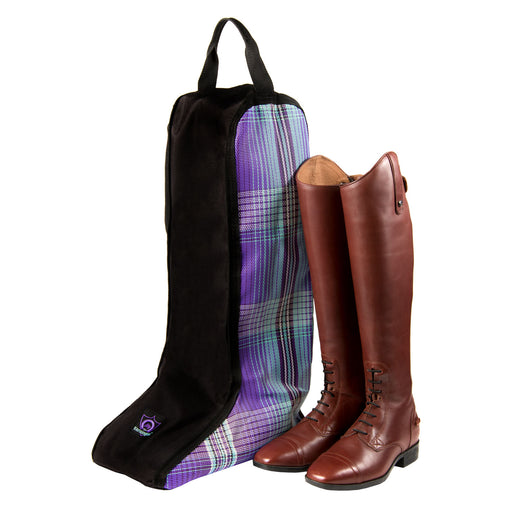 Black boot bag with purple plaid textilene sides. Single handle and logo. Pair of brown english boots shown outside for scale.