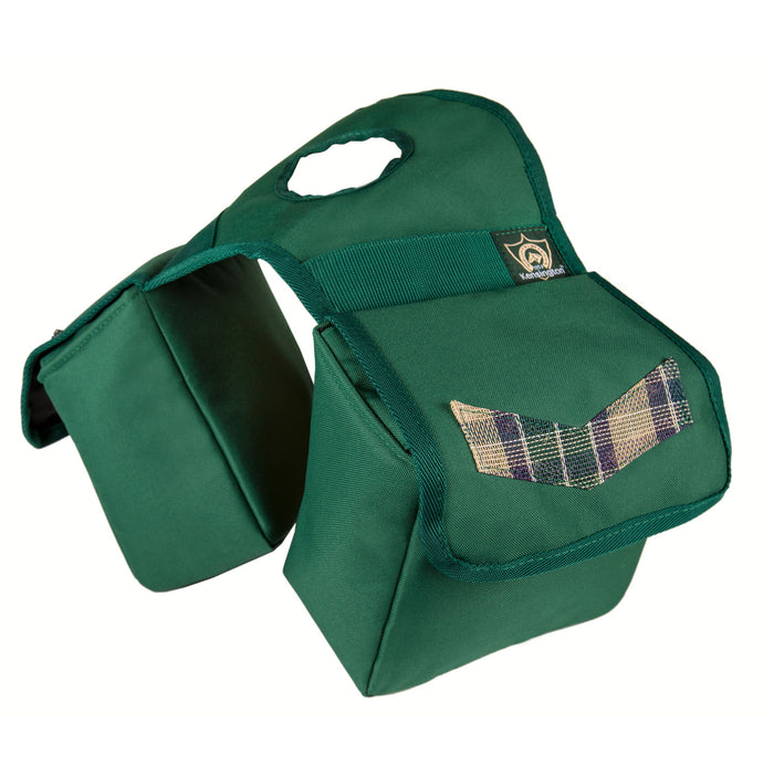 tan plaid and green Kensington insulated horn bag.