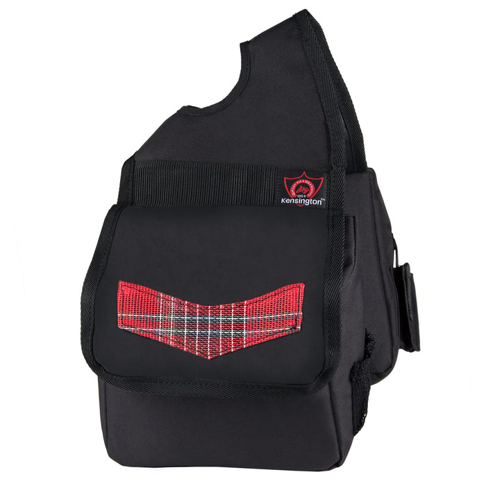 red plaid and black Kensington insulated horn bag.