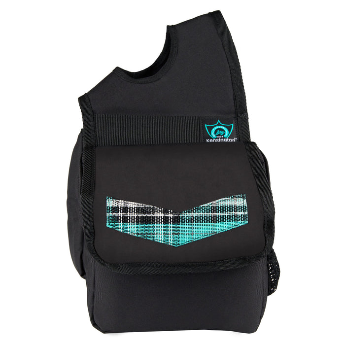 turquoise plaid and black Kensington insulated horn bag.