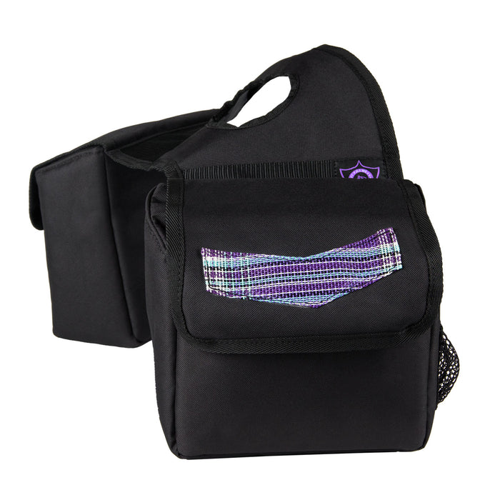 purple plaid and black Kensington insulated horn bag.