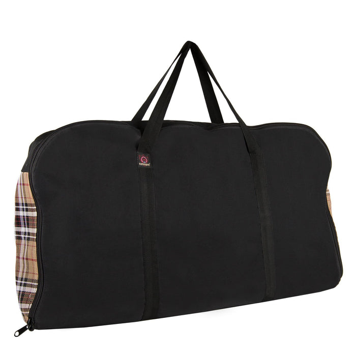 Tan plaid and black western pad carry bag.