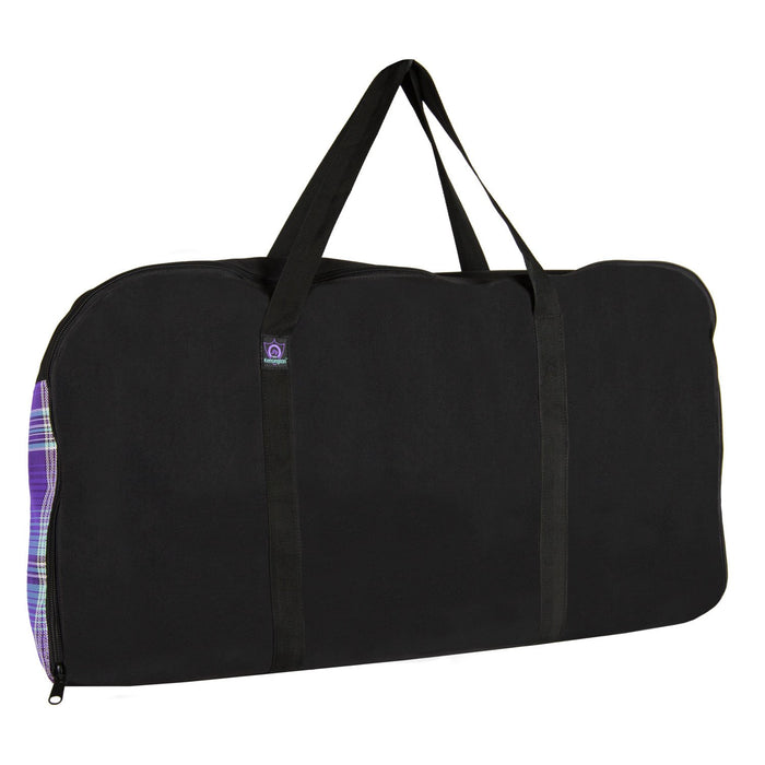 purple plaid and black western pad carry bag.