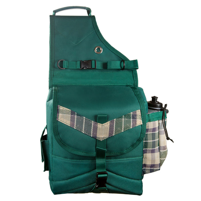 tan plaid and hunter green insulated western saddle bag with bottles