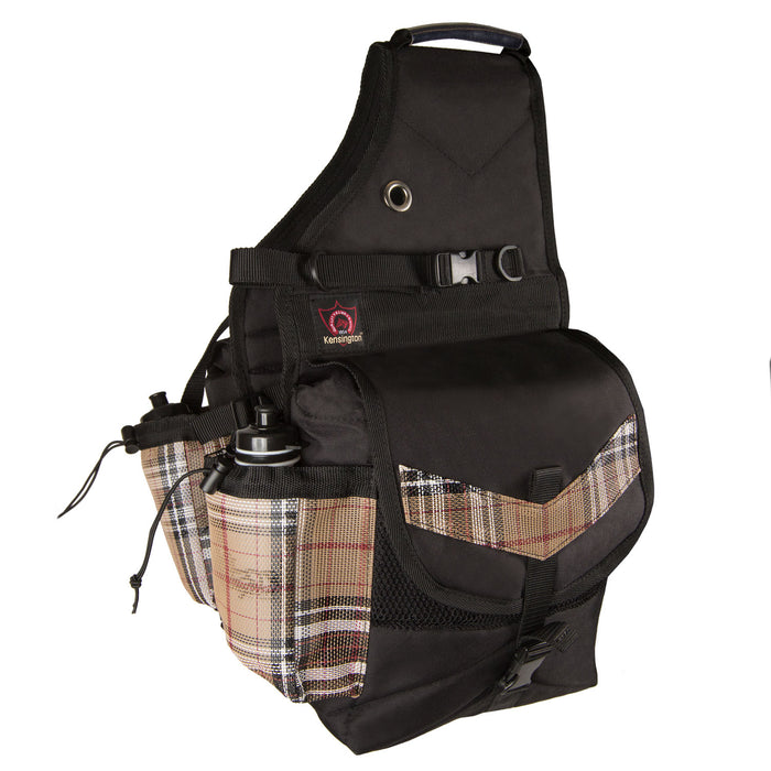 tan plaid and black insulated western saddle bag with bottles