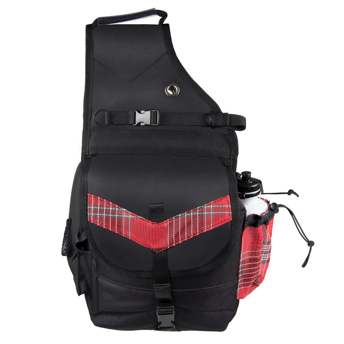 red plaid and black insulated western saddle bag with bottles