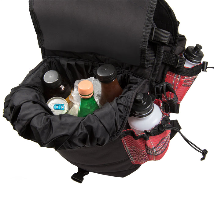 red plaid and black insulated western saddle bag with bottles, shown with beverages inside.