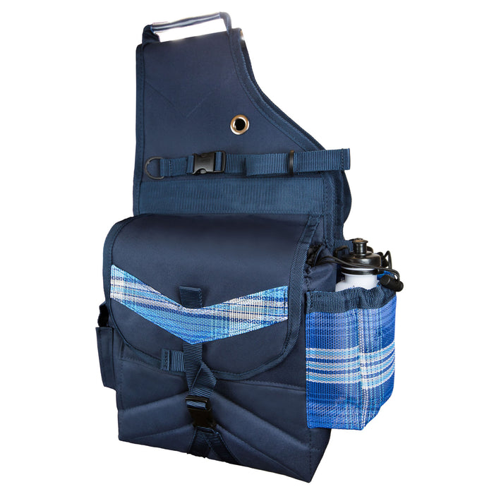 blue plaid and navy insulated western saddle bag with bottles