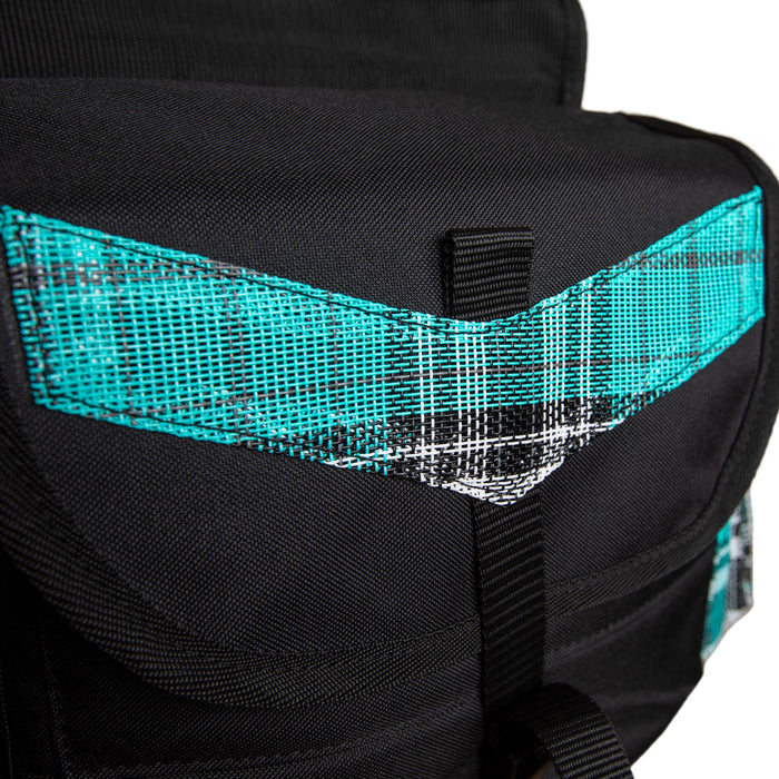 closeup of cover. Turquoise plaid and black insulated western saddle bag with bottles