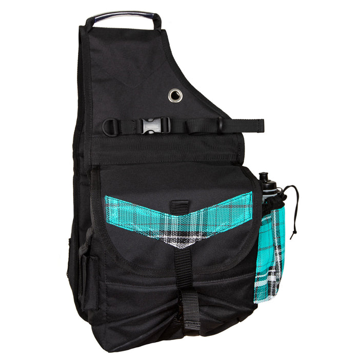 turquoise plaid and black insulated western saddle bag with bottles