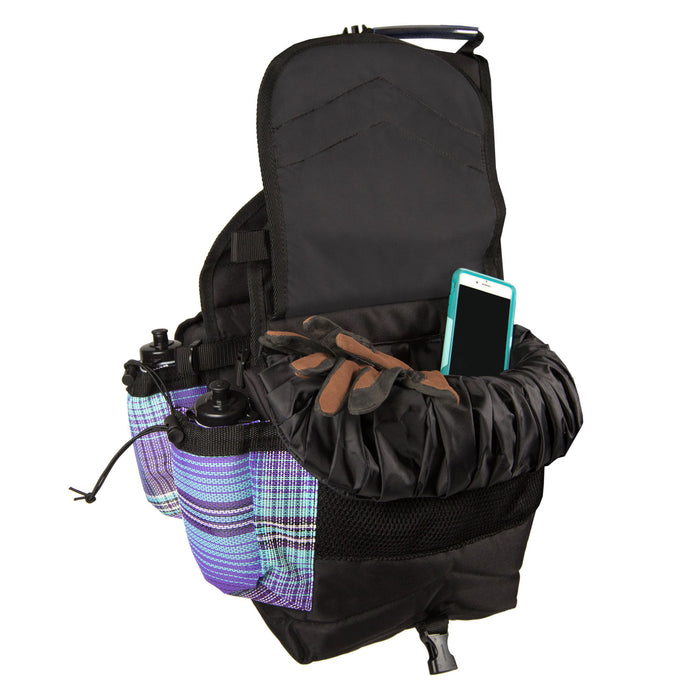purple plaid and black insulated western saddle bag with bottles shown with riding gloves and cell phone inside