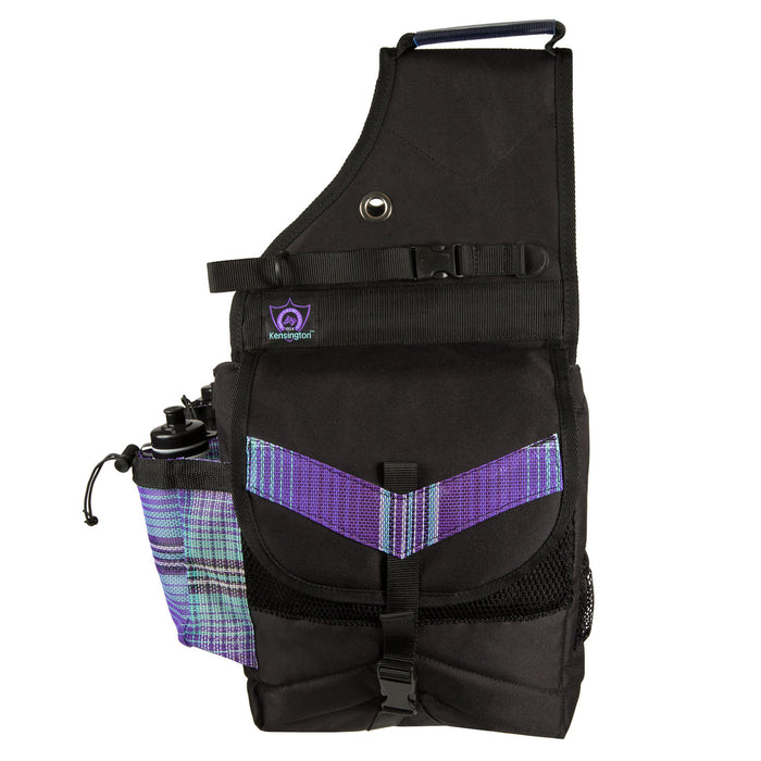 purple plaid and black insulated western saddle bag with bottles
