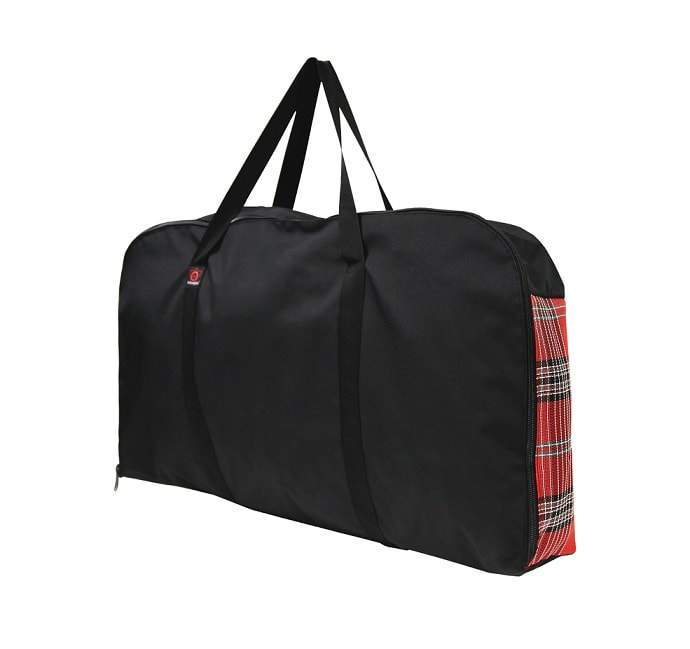 Red plaid and black western pad carry bag.