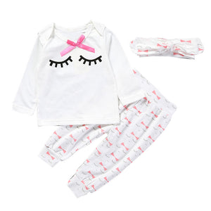 3pcs Baby Girls Clothing Long Sleeve autumn winter Children Clothes Infant Tops+Pants Eyelash Pattern+Headband Kids Outfit Set