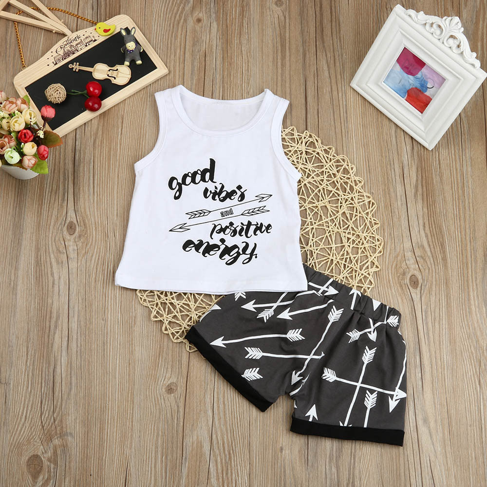 2Pcs Good Vibes and Positive Energy Tank Top + Shorts Set