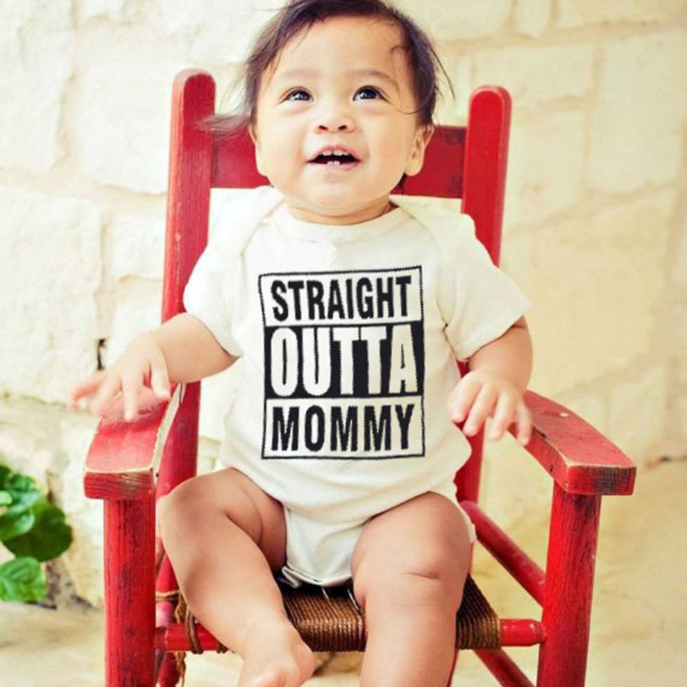 Summer Cotton Baby Boys Girls Short Sleeve Romper STRAIGHT OUTTA MOMMY Printed Bodysuit O-Neck Infant Jumpsuit Clothing