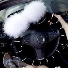 Universal Size Hhill Swater Siberian Husky Dog On Black Car Steering Wheel Cover Fashion Car Steering Wheel Cover