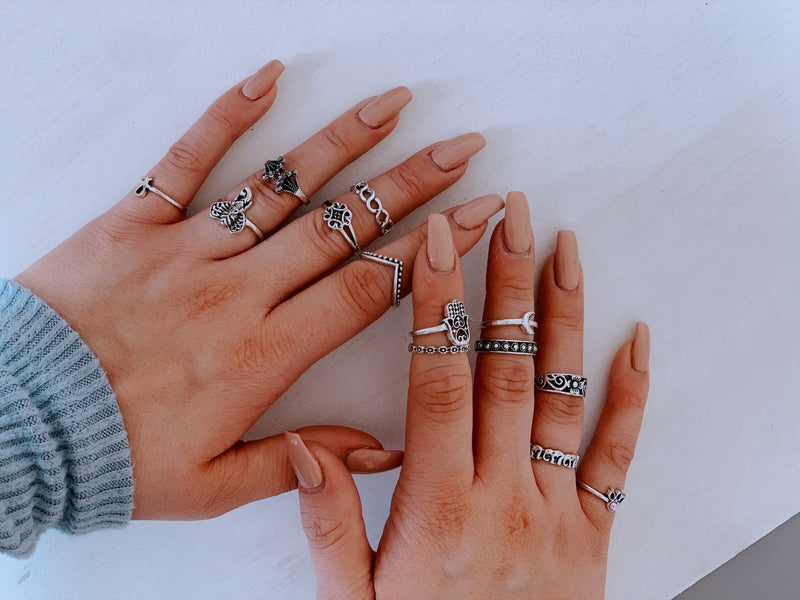 Vintage Moon Ring Set