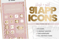 Blush + Gold IOS Icons