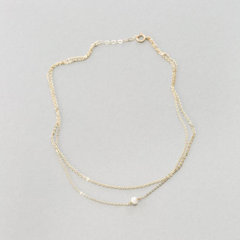 Gold Pearl Layered Choker - Sterling Silver